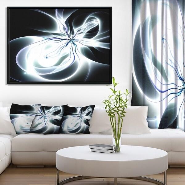 Designart 'White Symmetrical Fractal Flower' Abstract Art on Framed Canvas
