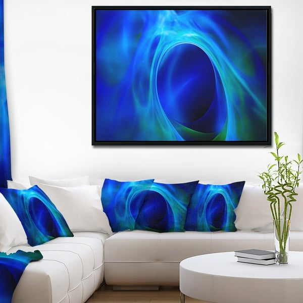 Designart 'Circled Blue Psychedelic Texture' Abstract Art on Framed Canvas
