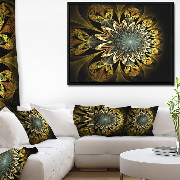 Designart 'Dark Yellow Digital Flower' Abstract Wall Art Framed Canvas