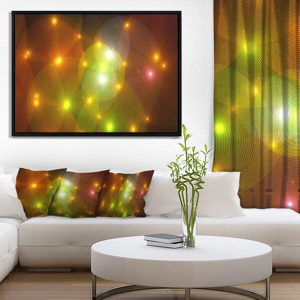 Designart 'Golden Fractal Lights in Fog' Abstract Wall Art Framed Canvas