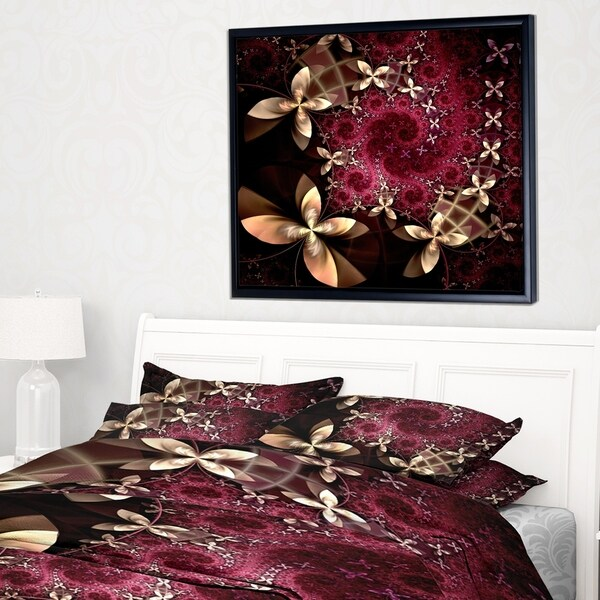Designart 'Yellow and Red Fractal Flower Pattern' Abstract Wall Art Framed Canvas