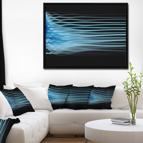 Designart 'Light Blue Fractal Flames' Abstract Art on Framed Canvas