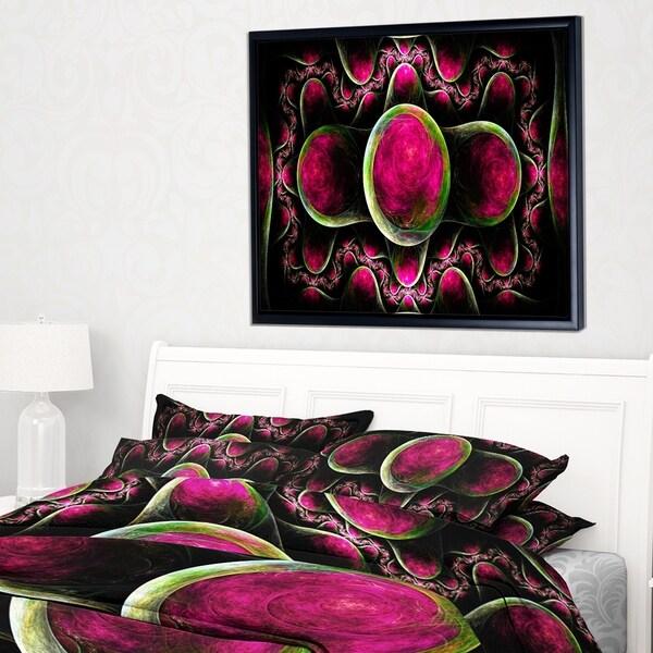 Designart 'Pink Exotic Fractal Pattern' Abstract Art on Framed Canvas