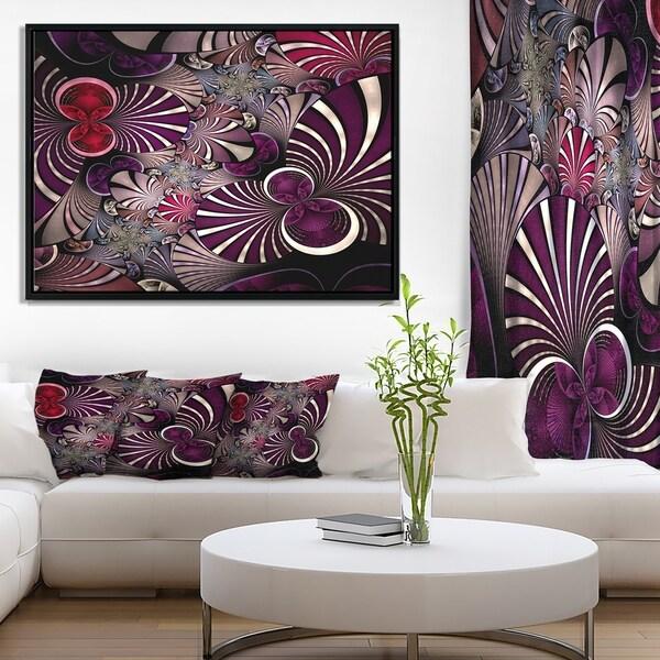 Designart 'Dark Violet Fractal Flower' Abstract Wall Art Framed Canvas