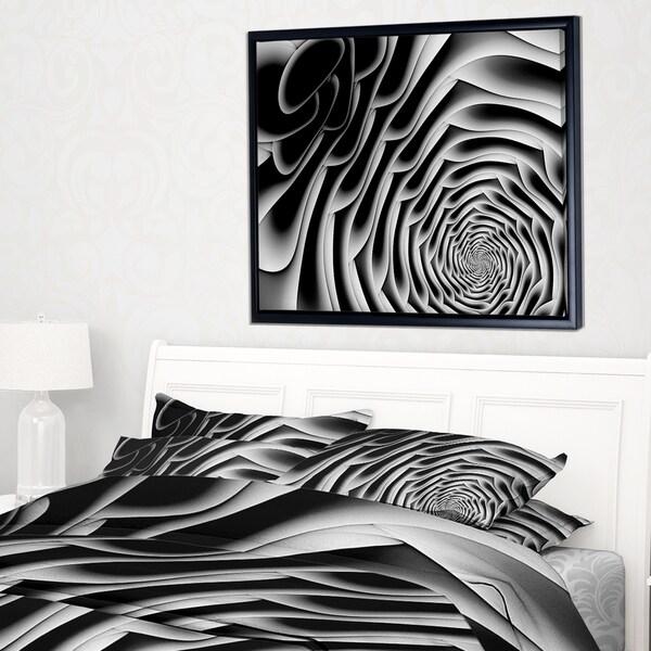 Designart 'White Flower Shaped Fractal Art' Abstract Wall Art Framed Canvas