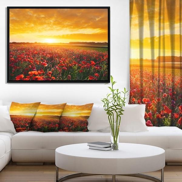 Designart 'Poppy Field under Ablaze Sunset' Abstract Wall Art Framed Canvas