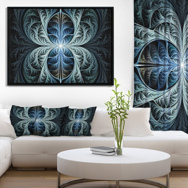 Designart 'Glowing Blue Fabulous Fractal Art' Abstract Framed Canvas Art Print