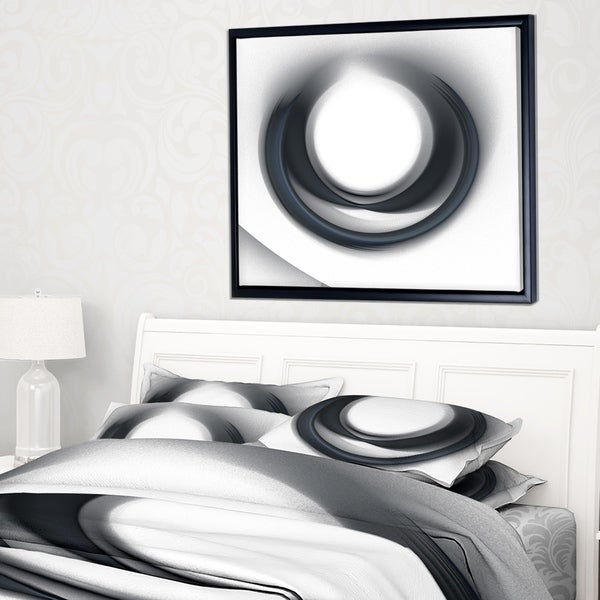Designart 'Large Fractal Black Circle on White' Abstract Wall Art Framed Canvas