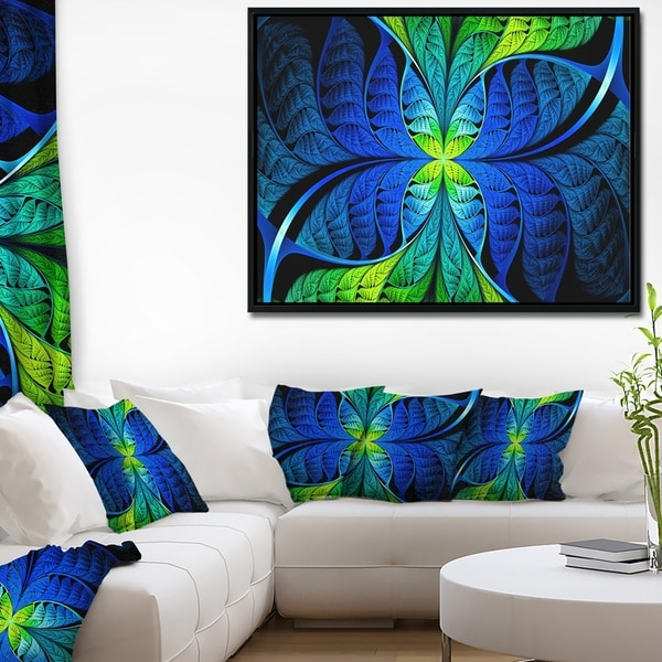 Designart 'Blue Green Fractal Stained Glass' Abstract Framed Canvas Art Print