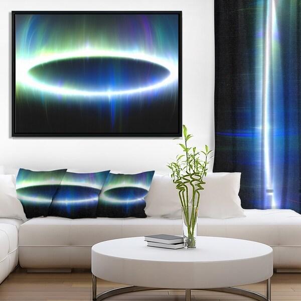 Designart 'Large Blue Oval Fractal Light' Abstract Framed Canvas Art Print