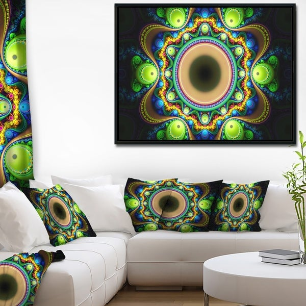 Designart 'Green Fractal Pattern with Circles' Abstract Framed Canvas Art Print