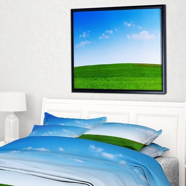 Designart 'Green Meadow Panorama' Landscape Framed Canvas Art Print