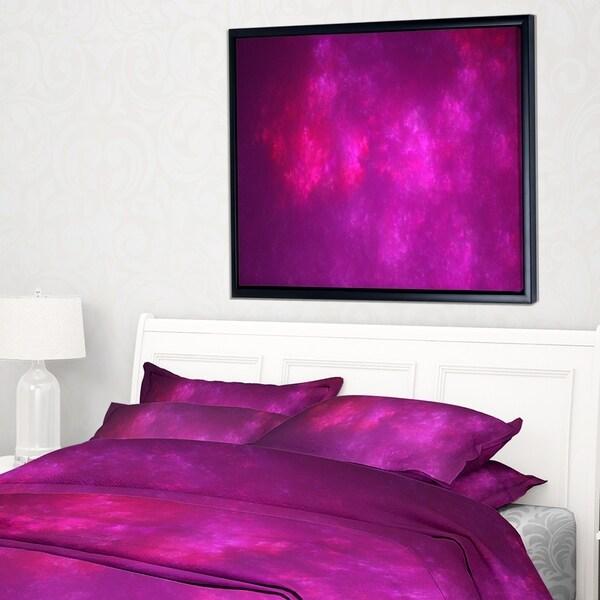 Designart 'Bright Pink Starry Fractal Sky' Abstract Framed Canvas Art Print