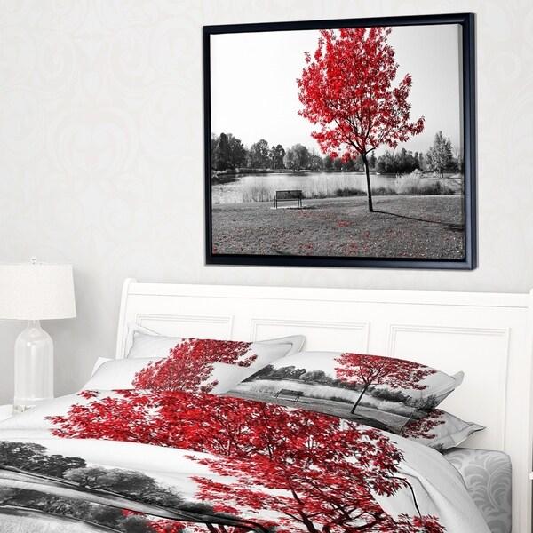 Designart 'Red Tree over Park Bench' Landscape Framed Canvas Art Print