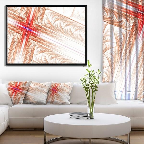 Designart 'Red Fractal Cross Design' Abstract Art on Framed Canvas