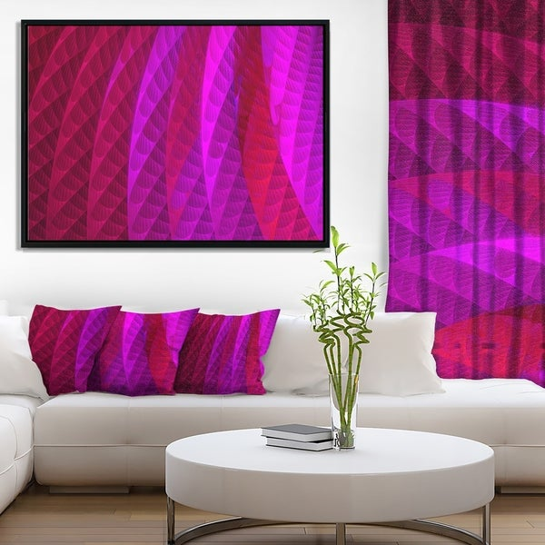 Designart 'Layered Pink Psychedelic Design' Abstract Framed Canvas Art Print