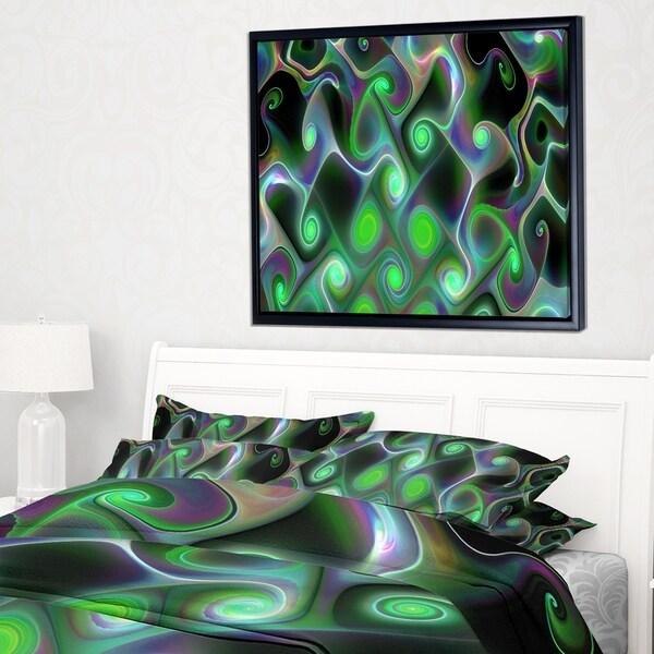 Designart 'Dark Green Fractal Swirls' Abstract Wall Art Framed Canvas