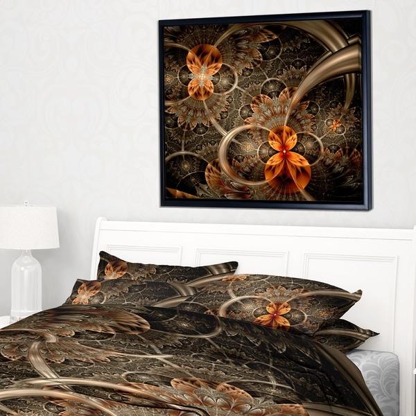 Designart 'Dark Orange Symmetrical Flower' Abstract Wall Art Framed Canvas