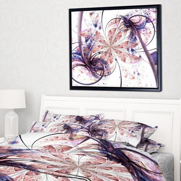 Designart 'Blue Pink Fractal Flower Pattern' Abstract Wall Art Framed Canvas