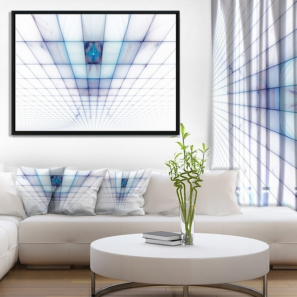 Designart 'Light Blue Laser Protective Grids' Abstract Framed Canvas Art Print
