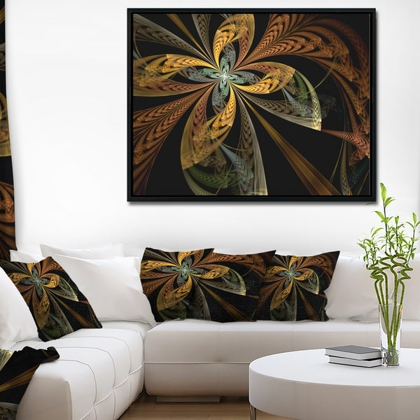 Designart 'Colorful Fractal Flower Pattern' Abstract Framed Canvas Art Print