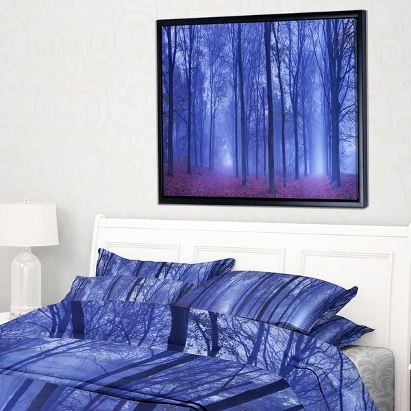 Designart 'Two Paths in Foggy Blue Forest' Landscape Framed Canvas Art Print