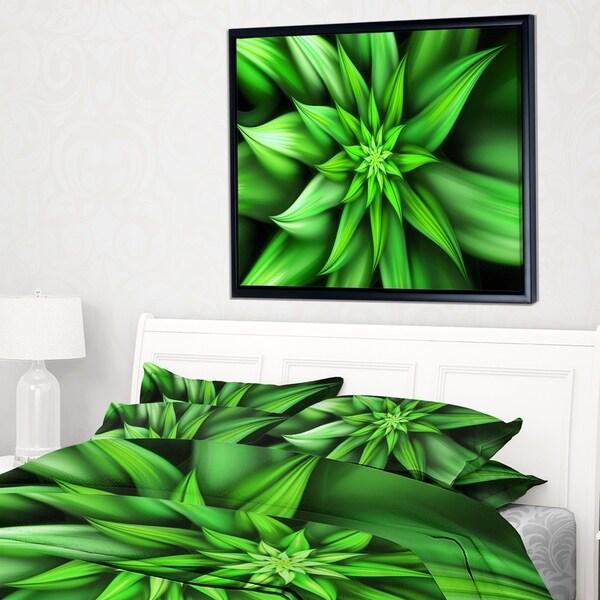 Designart 'Exotic Green Flower Petals' Floral Framed Canvas Art Print