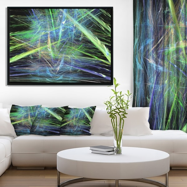 Designart 'Green Blue Magical Fractal Pattern' Abstract Framed Canvas Wall Art