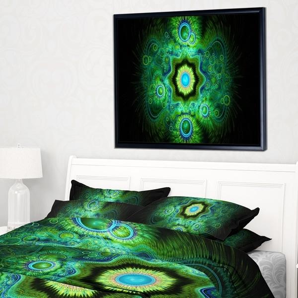 Designart 'Cabalistic Bright Green Texture' Abstract Framed Canvas Art Print