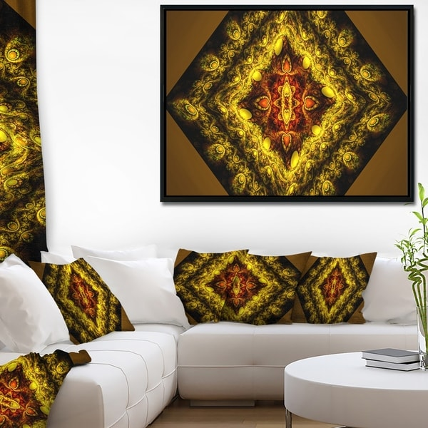 Designart 'Cabalistic Yellow Fractal Design' Abstract Wall Art Framed Canvas