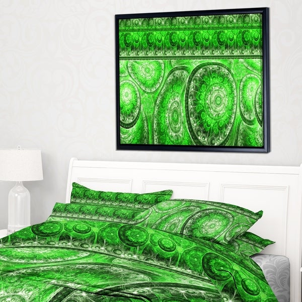 Designart 'Green Living Cells Fractal Design' Abstract Framed Canvas Art Print
