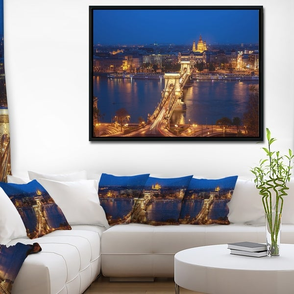 Designart 'Illuminated Cain Bridge Budapest' Cityscape Framed Canvas Art Print