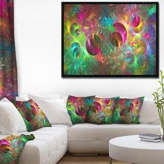 Designart 'Multi Color Fractal Glass Texture' Abstract Framed Canvas Art Print