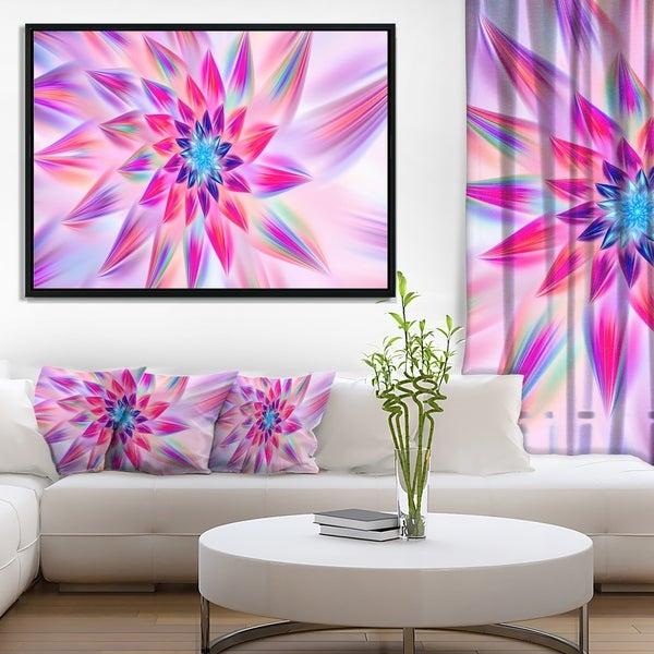 Designart 'Huge Pink Blue Fractal Flower' Floral Framed Canvas Art Print