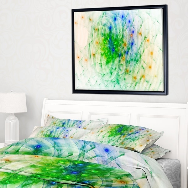 Designart 'Green Outline of Fractal Colors' Abstract Wall Art Framed Canvas