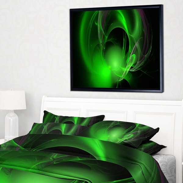 Designart 'Green Galactic Nebula on Black' Abstract Wall Art Framed Canvas