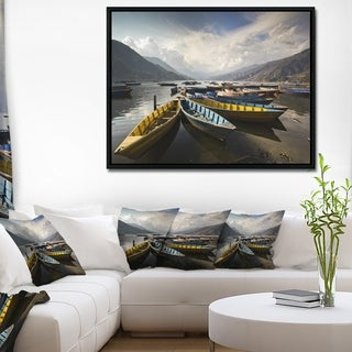 Designart 'Pokhara Lakeside Boats' Boat Framed Canvas Art Print