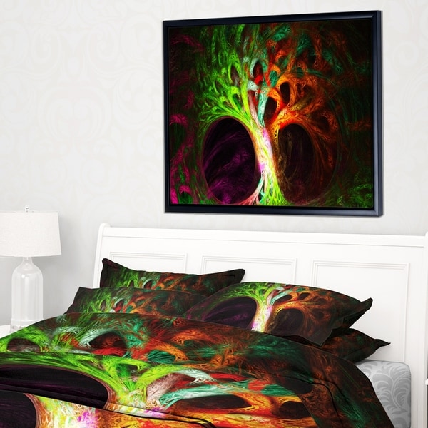 Designart 'Magical Green Psychedelic Tree' Abstract Art on Framed Canvas