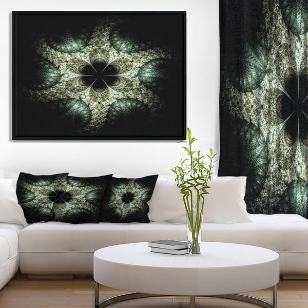 Designart 'Yellow and Green Fractal Flower' Abstract Wall Art Framed Canvas