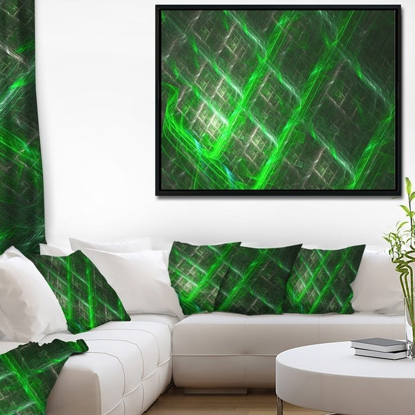 Designart 'Green Abstract Metal Grill' Abstract Art on Framed Canvas