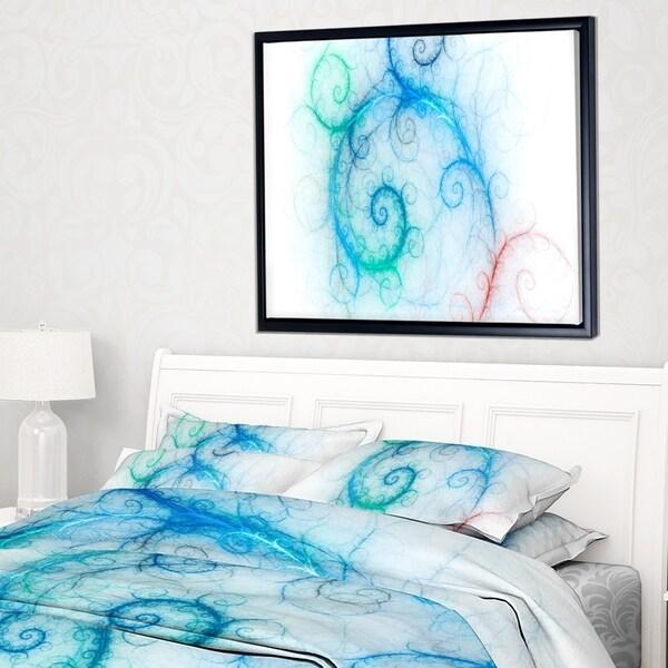 Designart 'Beautiful Blue Fractal Pattern' Abstract Wall Art Framed Canvas