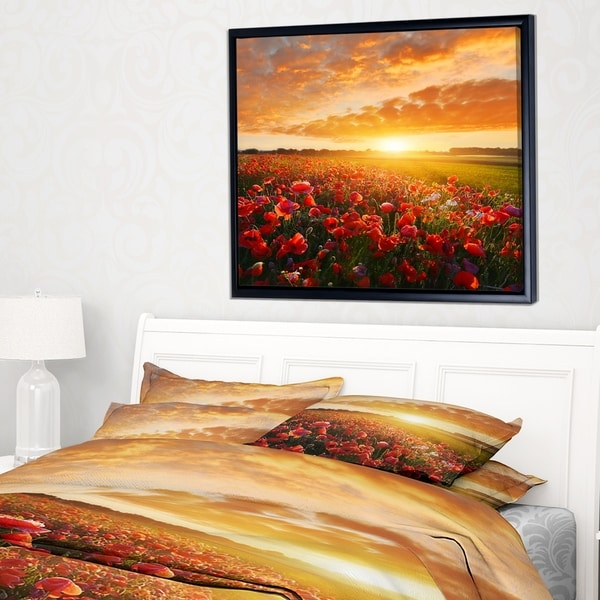 Designart 'Beautiful Poppy Field at Sunset' Abstract Wall Art Framed Canvas