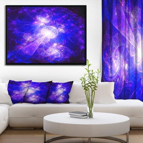 Designart 'Bright Blue Fractal Space Theme' Abstract Framed Canvas Art Print