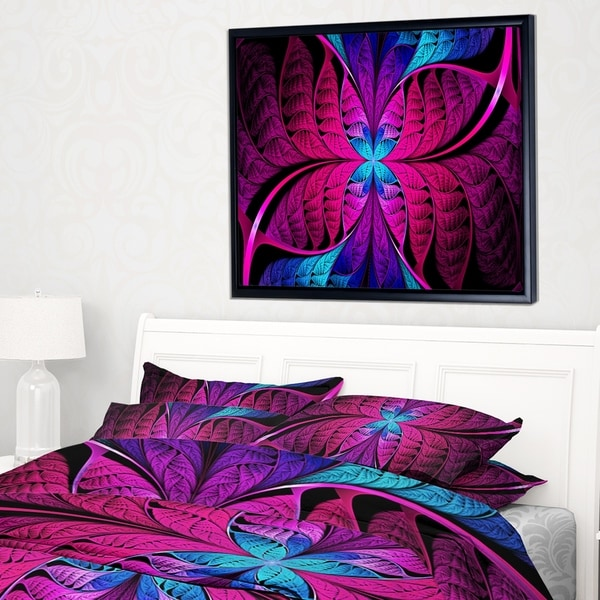 Designart 'Bright Pink Fractal Stained Glass' Abstract Framed Canvas Art Print