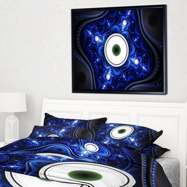 Designart 'Exotic Blue Pattern with Circles' Abstract Framed Canvas Art Print