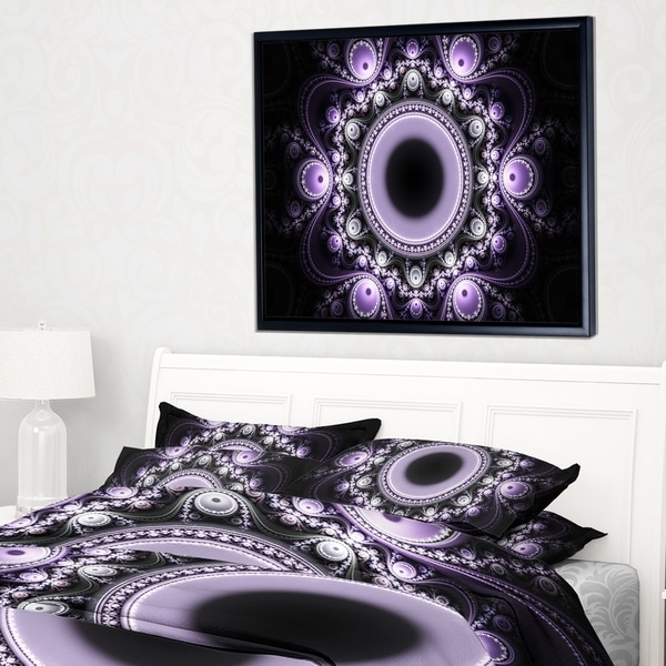 Designart 'Light Purple Pattern with Circles' Abstract Framed Canvas Art Print