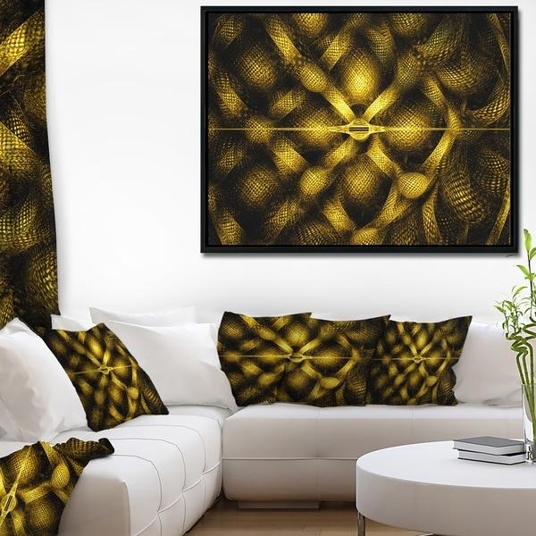 Designart 'Golden Fractal Watercolor Pattern' Abstract Art on Framed Canvas