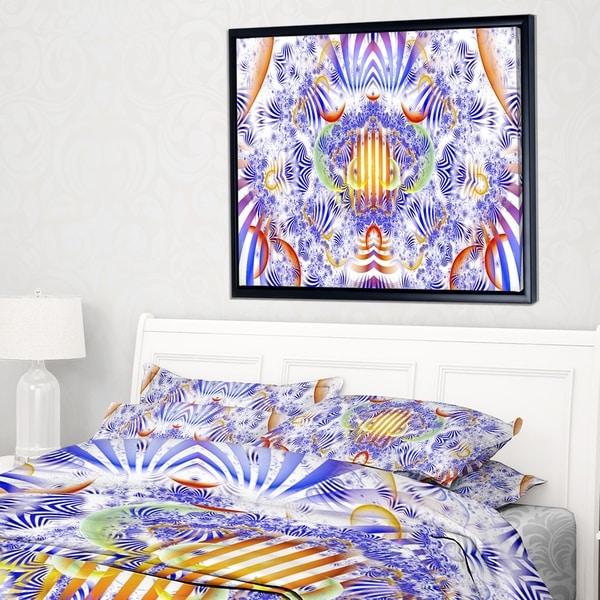 Designart 'Magical Fairy Pattern Blue' Abstract Art on Framed Canvas