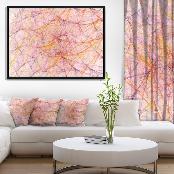 Designart \'Mystic Pink Fractal Veins\' Abstract Framed Canvas Art ...