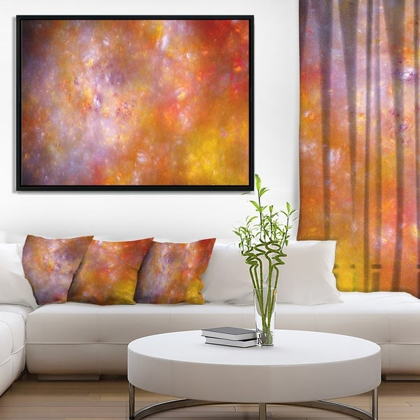 Designart 'Yellow Starry Fractal Sky' Abstract Framed Canvas Art Print